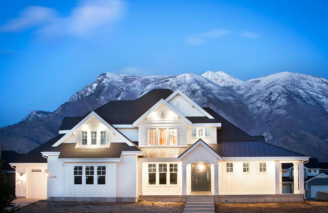 Utah Custom Home White Exterior