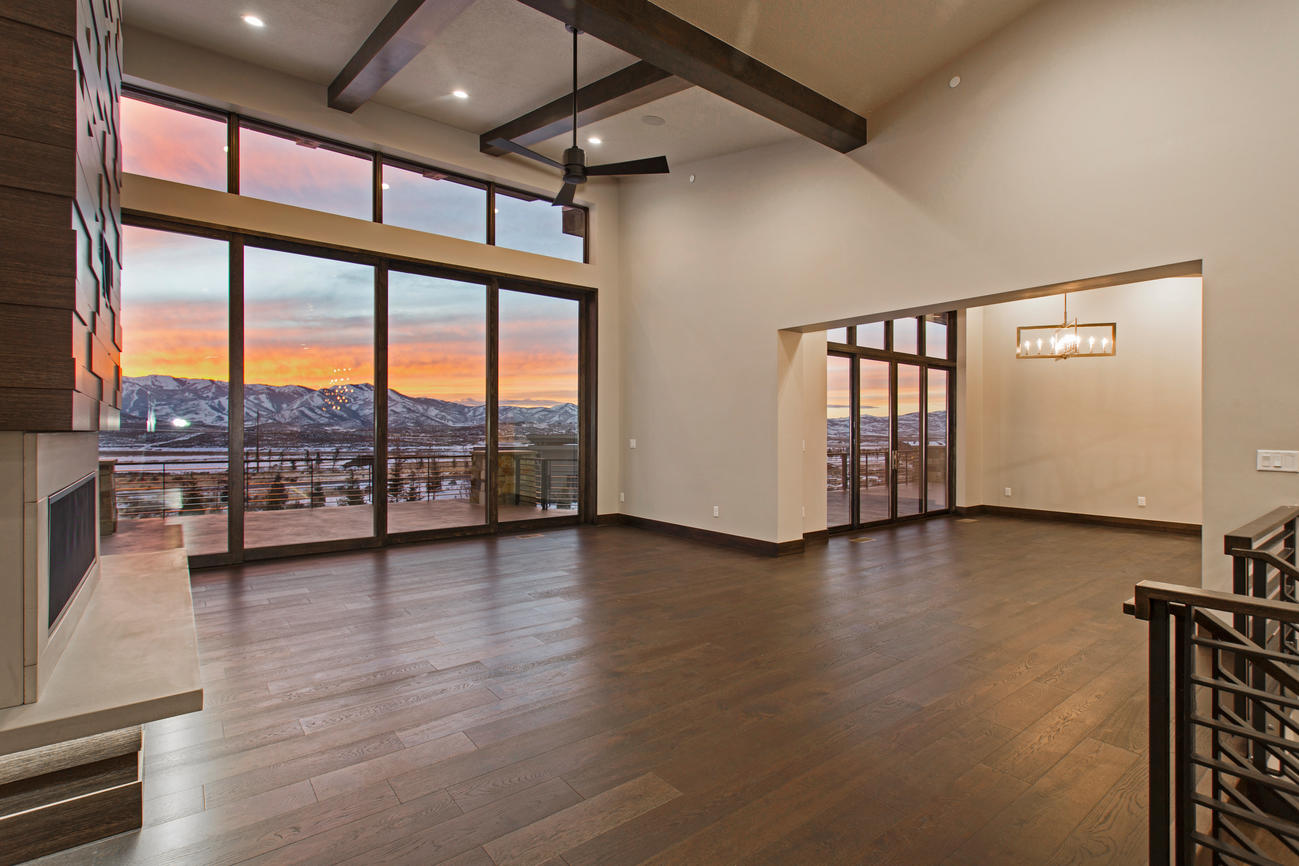 11 foot floor to ceiling sliding glass doors and windows